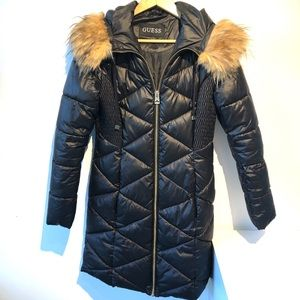 Guess | black puffer coat with faux fur